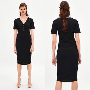 ZARA Midi Ribbed dress Black Stretch M